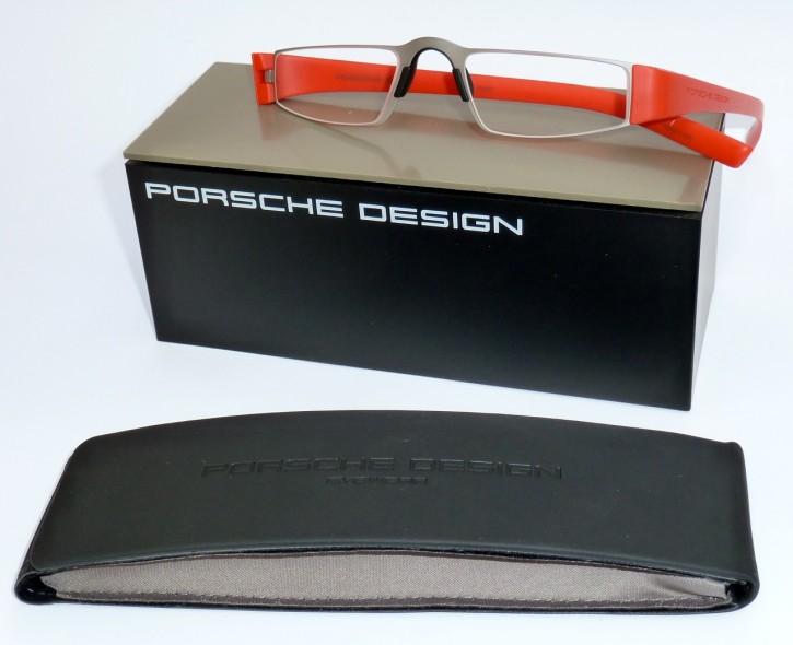 PORSCHE DESIGN® Fertiglesebrille 8801 O rotorange silber